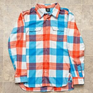 Oakley Men's Flannel Shirt Sz S Red, White & Blue